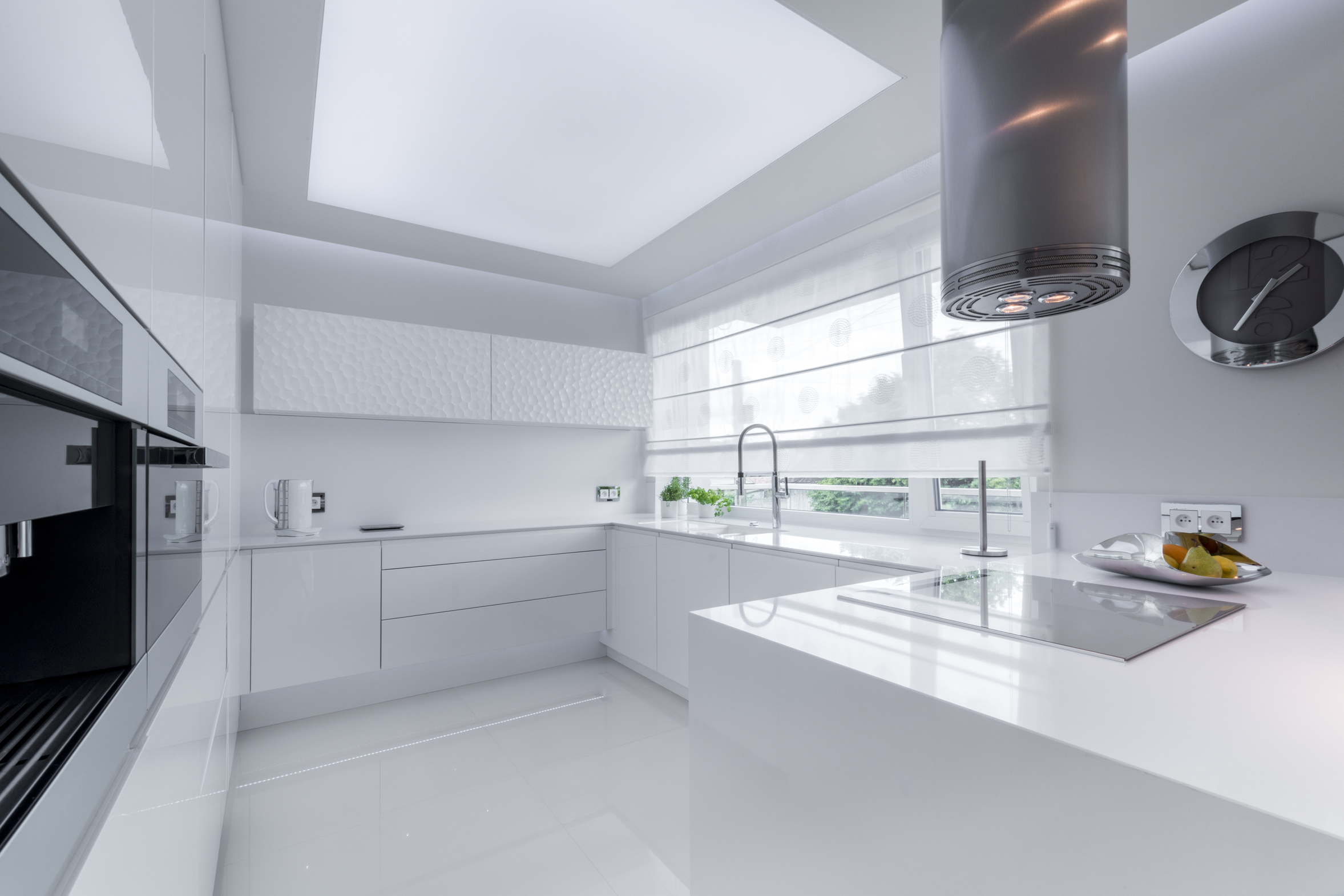 White, modern kitchen interior